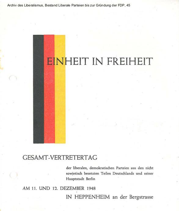 Einladung und Programm zum Gründungsparteitag der FDP 1948 in Heppenheim als PDF