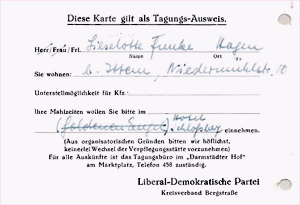 Einladung Liselotte Funcke zur Gründungsveranstaltung der FDP 1948 in Heppenheim