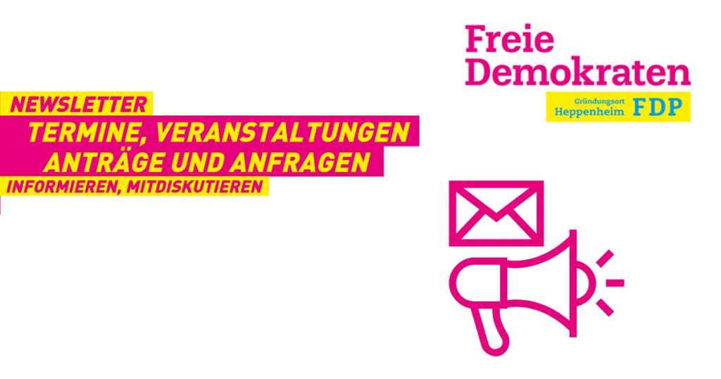Was macht die FDP in Heppenheim eigentlich? Worüber wird diskutiert, welche Anträge und Anfragen werden gestellt? Wer ist das alles und wo trifft man die? Melden Sie sich zu unserem Newsletter an, erfahren Sie mehr, diskutieren Sie mit!